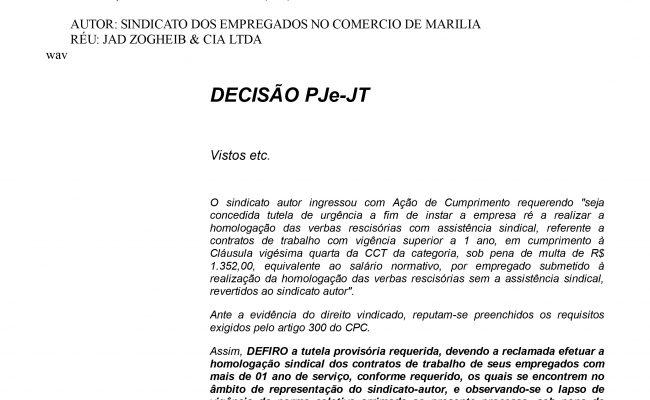 Justiça obriga Supermercado Confiança a realizar rescisões no Sindicato