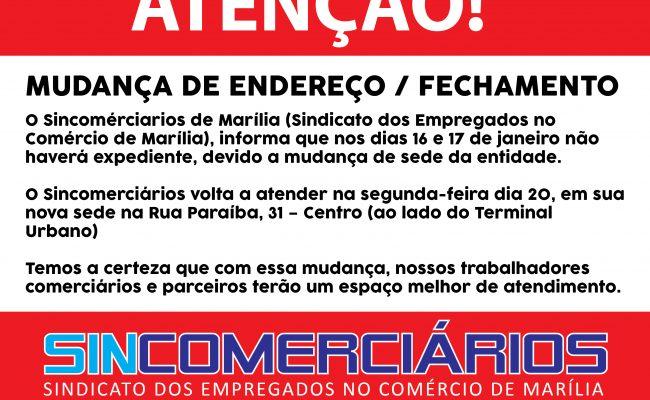 MUDANÇA DE ENDEREÇO / FECHAMENTO
