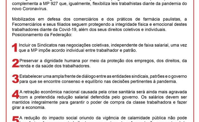 MANIFESTO DE REPÚDIO A MP 936
