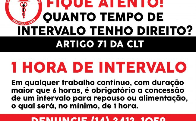 COMERCIÁRIO – FIQUE ATENTO AO SEU HORÁRIO DE INTERVALO